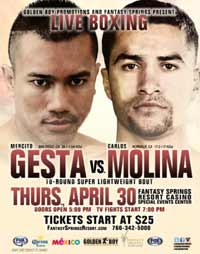 Mercito Gesta vs Carlos Molina - full fight Video 2015 result