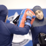Iranian girl made her debut in MMA in hijab. She was choked out in 19 seconds and was pumped out for a long time.